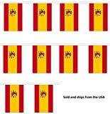30' Spain String Flag Party Bunting Has 30 Spanish 6''x9'' Polyester Banner Flags Attached, Popular For School Classroom, Special Events, Bars, Restaurants, Country Theme Parties