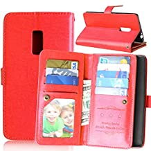 OnePlus Two Case,Abtory OnePlus 2 Wallet,PU Leather Magnet Folio Wallet Flip Cover Case Built-in 9 Card Slots & Stand Case for OnePlus Two / OnePlus 2 Red