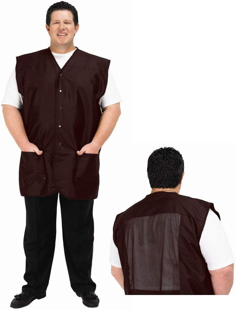 A Size Above Big & Tall Vented Mesh Back Barber Vest, Chocolate Brown, 1X