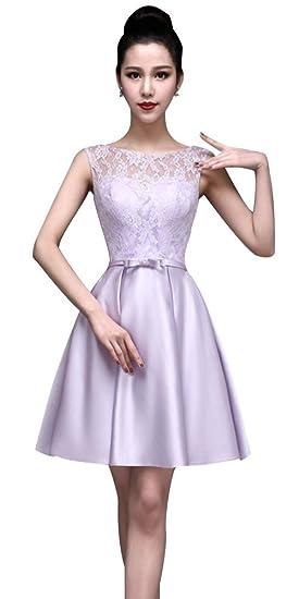 Drasawee Illusory Lace Neckline Satin Skirt Short Bridesmaid Junior Prom Party Dress Purple UK8