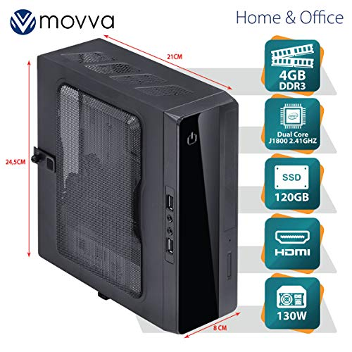 MINI COMPUTADOR LITE INTEL DUAL CORE J1800 2.41GHZ MEMORIA 4GB SSD 120GB HDMI/VGA FONTE 130W LINUX - MVMLIJ1800S1204 - MOVVA