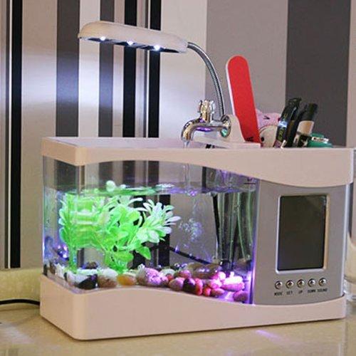 Multifuncional USB pantalla LCD escritorio lámpara de luz LED Acuario Pecera con Calendario/Reloj despertador/Soporte Para Bolígrafo, color blanco: ...