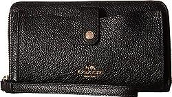 COACH Women's Polished Pebbled Leather Phone Wallet LI/Black Wallets