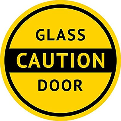 5inx5in caution glass door sticker vinyl business sign door decal stickers