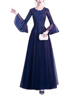 LANG CAI NV MAO Gray Wedding Dress Long Flower Side Neck Evening Dress with 3//4 Sleeve