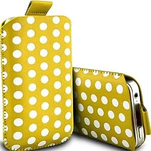 ONX3 Samsung Galaxy Express I8730 Leather Slip protectora Polka PU de cordón en la bolsa de la liberación rápida (amarillo y blanco)