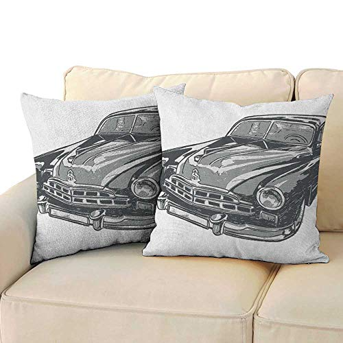 RenteriaDecor Cars,Decorative Pillowcase Hand Drawn Vintage Vehicle with Detailed Front Part Hood Lamps Rear View Mirror 24