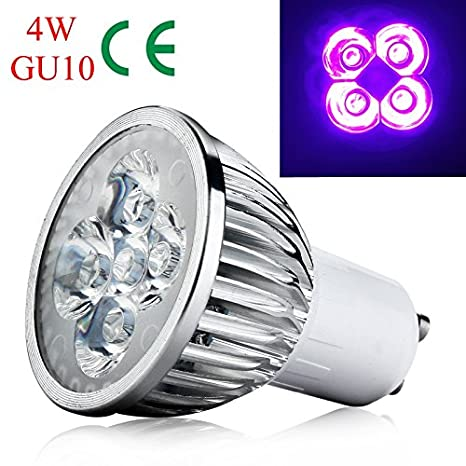 4W GU10 Base UV LED Ultravioleta Proyector LED Bombilla Inicio ...