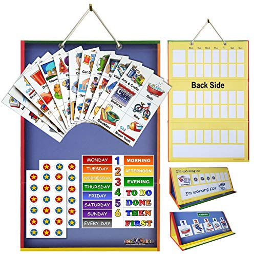 SchKIDules 2-in-1 Home Bundle Visual Schedule: Daily Kids Calendar and Weekly Responsibility Chart All in One; 18 Trifold Magnetic Board, 72 Activity Magnets and 57 Accessory Magnets
