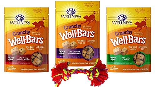 (Wellness WellBars Grain Free Crunchy Treats for Dogs 3 Flavor Variety with Toy Bundle, 1 Each: Yogurt Apple Banana, Chicken Cheddar Cheese, Lamb Apples (8 Ounces))
