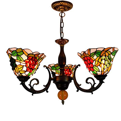 - Creative 3-Head Chandelier Tiffany Color Glass Ceiling Pendant Lights Bedroom Dining Room Study Foyer Grape Glass Pendant Lamp E27/E26 (Bulbs Not Included)