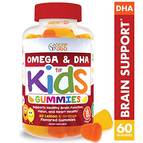 Complete DHA Gummies for Kids by Feel Great 365 (20 Servings), Omega 3 6 9 from Algae, Chia, and Coconut Oil, Supports Healthy Brain Function, Vision, and Heart Health in a Chewable Vegan Supplement (Adhd Best Foods To Eat)