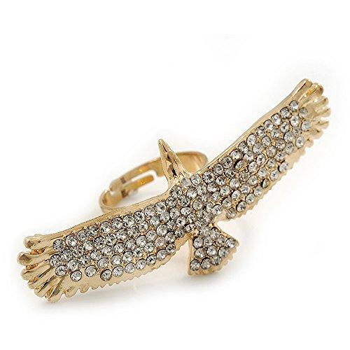 Avalaya Gold Plated Sculptured Swarovski Crystal 'Eagle' Statement Ring - Adjustable - (Size 7/8) - 5.5cm Length