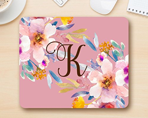 Monogrammed Initials - Monogram mousepad letter K - Floral Mouse Pad Computer Accessories Home Office Space Cubicle Decor