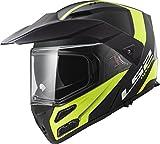 LS2 Helmets Unisex-Adult Flip-Up-Helmet-Style Metro V3 Modular Adventure Helmet (Matte Black Hi Viz Yellow Rapid, Large), 1 Pack