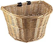 ACECITY Wicker D-Shaped Bike Basket, Portable Hand-Woven Shopping Basket Folk Craftsmanship Bicycle Handlebar