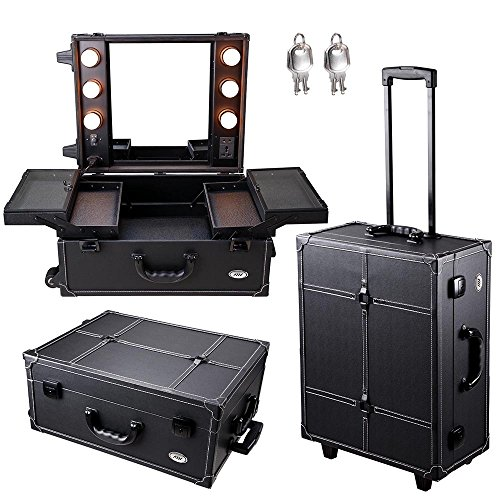 AW Black Rolling Studio Makeup Artist PVC Cosmetic 15x8x19' Case w/Light Mirror Portable Train Table (Rolling Makeup Case Professional)