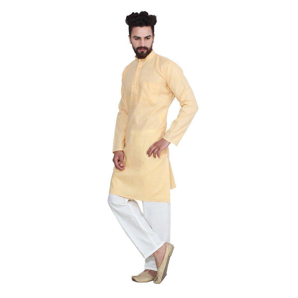 Royal Kurta Men's Fine Cotton Linen Airy Kurta Pyjama Set 44 Lemon