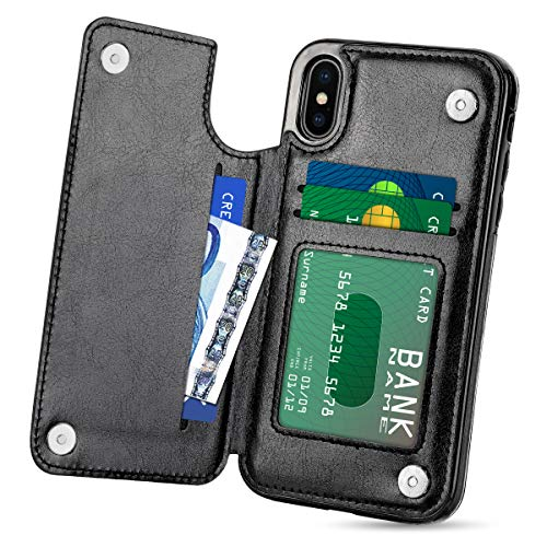HianDier Wallet Case for iPhone Xs MAX, Slim Protective Case with Credit Card Slot Holder Flip Folio Soft PU Leather Magnetic Closure Cover Case Compatible with iPhone Xs MAX 6.5