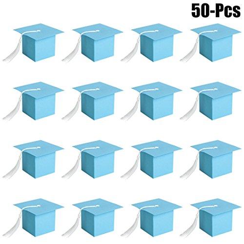 (Coxeer 50PCS Graduation Candy Box Candy Favor Box Creative Graduation Cap Gift Box for Graduation Party)