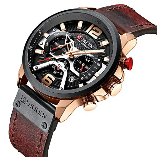 New Fashion Business Quartz Watch for Men Chronograph Sport Leather Wristwatch with Date