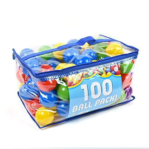 Sunny Days Entertainment 100 Count Deluxe Ball Pit Refills; Phthalate and BPA Free; Crushproof Plastic Refill Balls with Storage Bag in Assorted Colors