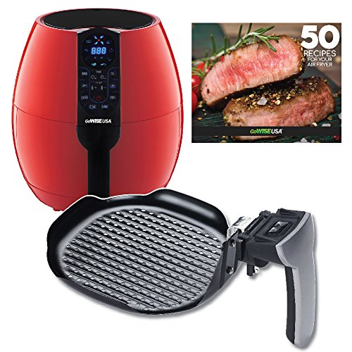 GoWISE USA 3.7-Quart Air Fryer w/ 8 Cook Presets (Red + Grill Pan)