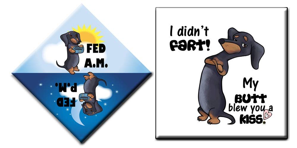 "Dachshund Magnets 2pc Gift Set | Did You Feed the Dog AM / PM Last Feeding Tracker and Funny ""I Didn't Fart, My Butt Blew You a Kiss"" Fridge Magnet 