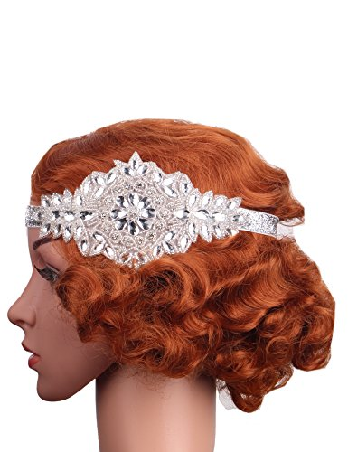 Flapper Girl Art Deco 1920s Vintage Flapper Headband Headpiece Accessories (White) (Flapper Girls Dresses)