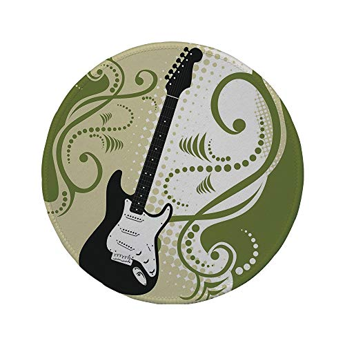 Non-Slip Rubber Round Mouse Pad,Music,Electric Bass Guitar Figure with Swirls Background Artful Illustration,Olive Green White Black,11.8