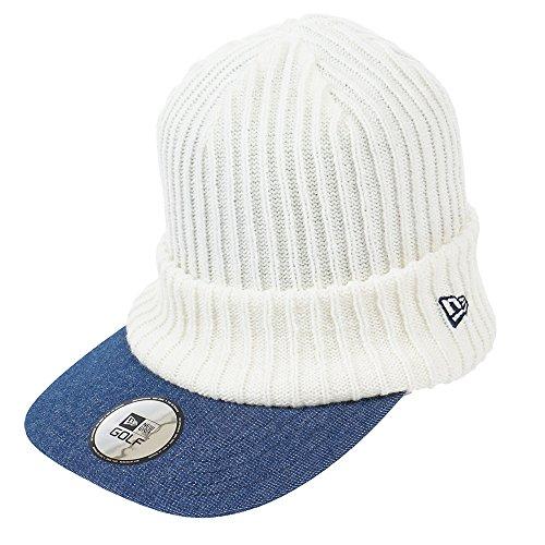 ニューエラ ゴルフ ニット帽 バイザー インナーフリース オールドロゴ ホワイト NEW ERA GOLF
