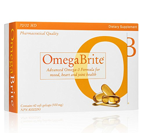 OmegaBrite, High Concentrate 90% Omega-3 (500mg) - Burpless No Aftertaste - High EPA - Advanced Omega-3 Formula for Mood, Heart, and Joint Comfort - 60 Count