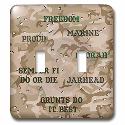 3dRose lsp_60461_2 Desert Gulf War Camouflage with Marine Sayings Double Toggle Switch
