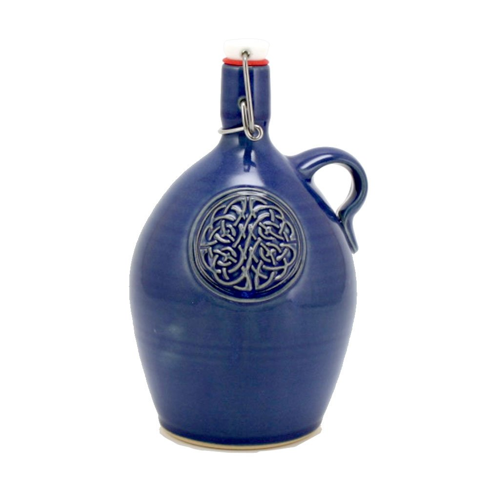 Ceramic Growler - 32 oz Hand-made Stoneware Beer Growler for Craft Beer Lovers and Home Brewers with Celtic Knot Logo and Cobalt Blue Glaze