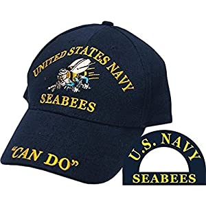 U.S. Navy USN Seabees Can Do Sea Bees Navy Blue Embroidered Cap Hat (EE)