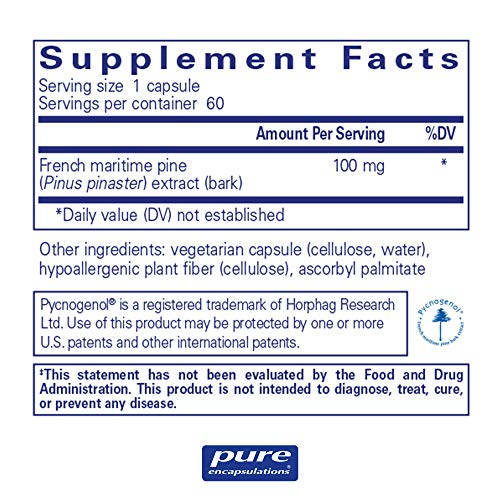 Pure Encapsulations - Pycnogenol 100 mg - Hypoallergenic Supplement to Promote Vascular Health and Provide Antioxidant Support* - 60 Capsules by Pure Encapsulations (Image #1)