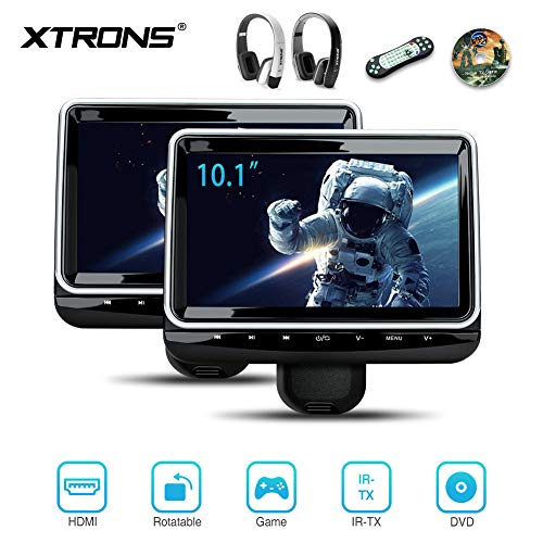 (XTRONS Universal 10.1 inch Car Headrest Multimedia CD DVD Player with HDMI USB SD Port Support 8Bit & 32Bit Games Screen Sharing Mounting Bracket & 2pcs IR Wireless Headphones Included)