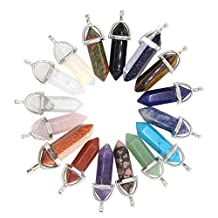 JOYA GIFT Crystal Gemstone Healing Pointed Reiki Chakra Pendant Plated Silver Necklace