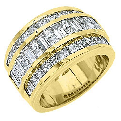 18k Yellow Gold Mens Invisible Set Princess & Baguette Diamond Ring 3.38 Carats