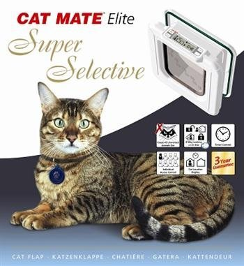 Cat Mate Elite I.D. Disc Cat Flap with Timer Control - White