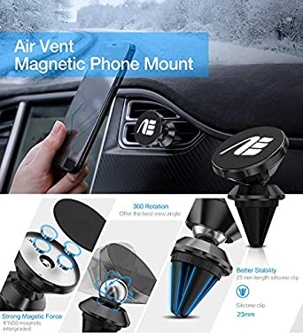 Samsung HTC Silver LG Google ETC Strong Magnet Air Vent Car Cell Phone Holder Universal Magnetic car Mount 360 Rotating Swivel Pivoting Magnetic Technology Never SAG Compatible with iPhone