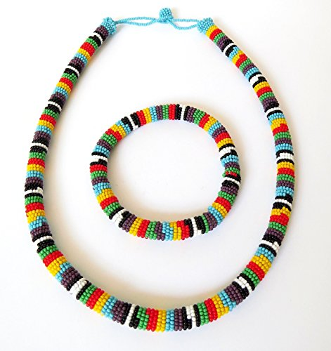 African Zulu beaded necklace and round bracelet set - Multicolour TWO (purple) - Gift for her