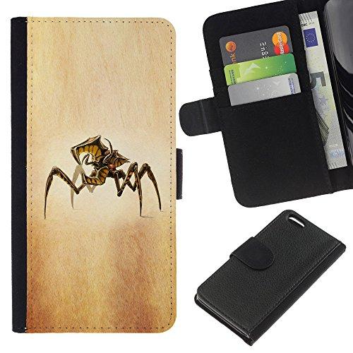 Lead-Star (zhuk arahnid arachnid zvezdnyy) Colorful Impression Holster Cuir Wallet Cover Housse Peau Cas Case Coque Pour Apple iPhone 5C
