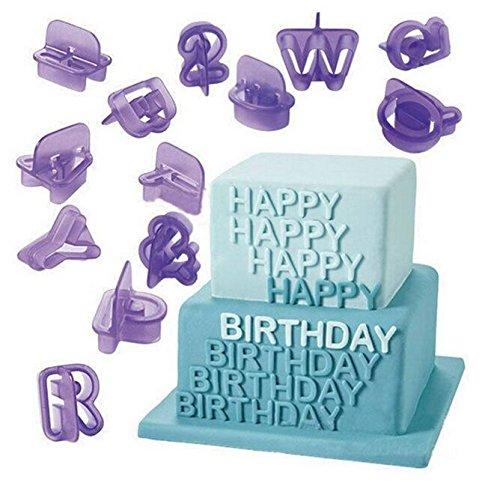 Alphabet Cake - YOYOSTORE 40pcs Alphabet Number Character Letter Fondant Cake Decorating Set Icing Cutter Mold Mould