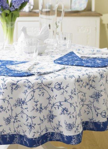 Laurau0027s Beau Exclusive Fleur Floral Design 147cm (58u0026quot;) 100% Cotton  Round Floral