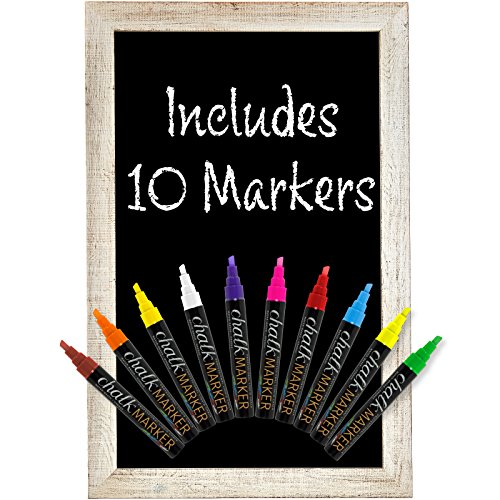 Rustic White Magnetic Wall Chalkboard Sign: Includes 10 Liquid Chalk Markers 20''x30'' Wooden Hanging Chalk Sign for Kitchen Wall Decor, Restaurant Menu Board and Wedding Sign / Hangs in Both Directions by Excello Global Products