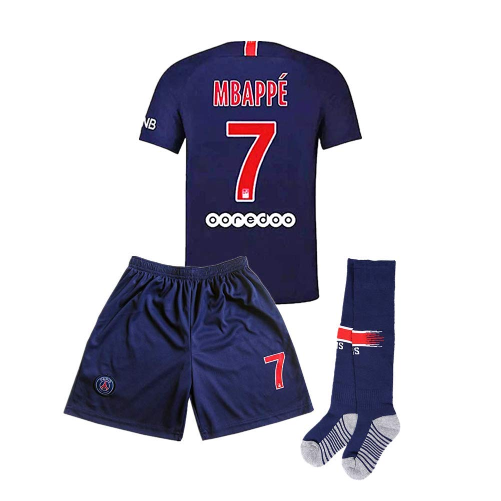 99119b125 Home MBAPPE  7 Kids Youth Paris Saint-Germain Football Jersey Color Blue Red