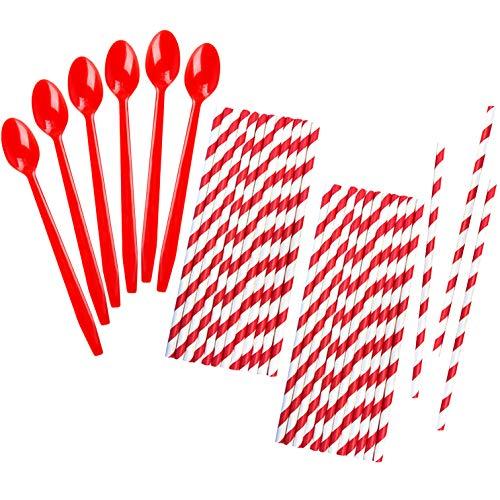 Red Plastic Sundae/Soda Spoons - 8 Inch - Red Stripe Paper Straws - 50 Each