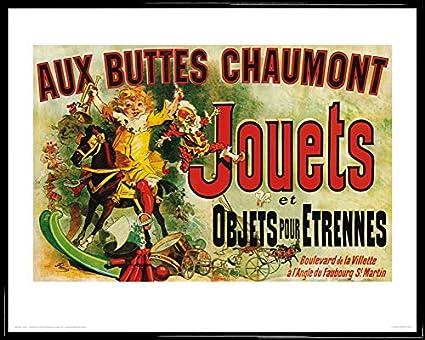 Plastique 50 x 40cm - Aux Buttes Chaumont 1art1 Vintage Poster Reproduction et Cadre Jouets Et Objets pour Etrennes