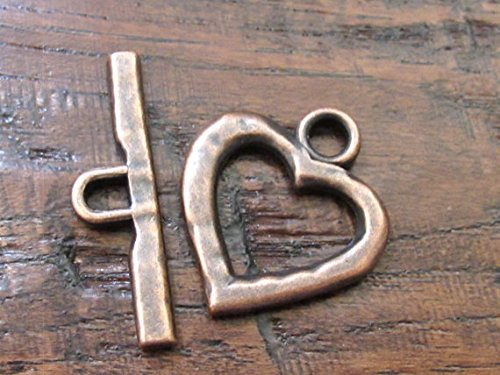 Copper hammered heart shape Toggle clasp - 1 set - BD555 ()